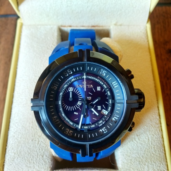 Invicta Other - Invicta Dive Watch Black Face/Blue Rubber Strap